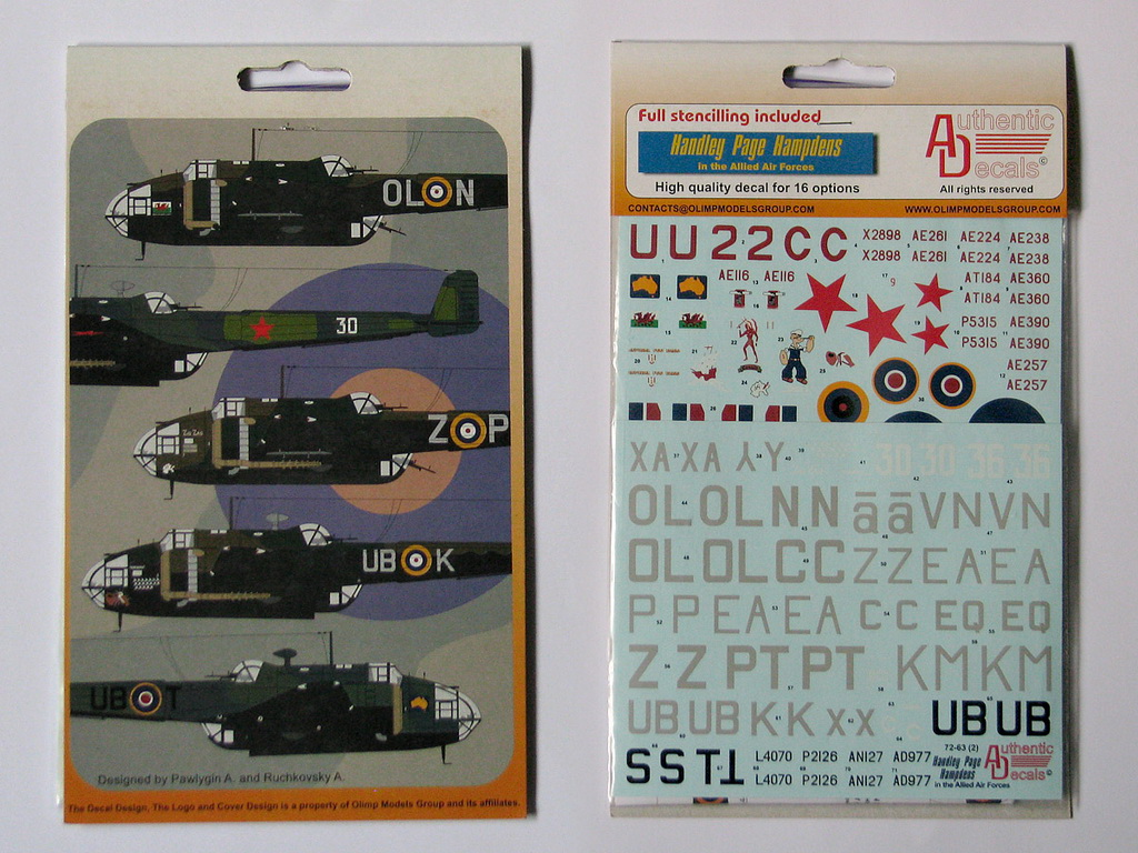Обзор декали Handley Page Hampden Authentic Decals 1/72 от foxbot